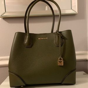 Mercer Gallery Medium Leather Satchel in Olive
